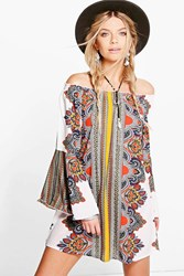 Boohoo Scarf Print Off The Shoulder Dress Multi