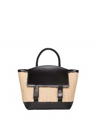 Sacai Leather And Raffia Flap Top Tote Bag Neutral Pattern
