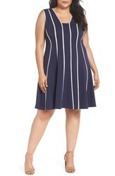 Gabby Skye Plus Size Women's Piping Detail Fit And Flare Dress Navy Taupe