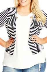 Plus Size Women's City Chic Zip Detail Stripe Ponte Blazer French Navy