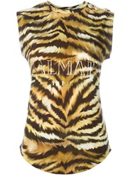 Balmain Logo Animal Print T Shirt Brown