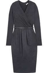 Max Mara Wrap Effect Wool Blend Dress Gray