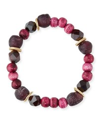 Akola Jade Tiger's Eye Bone And Glass Bead Bracelet W Accents Pink