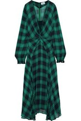 Ainea Woman Twist Front Checked Georgette Maxi Dress Green