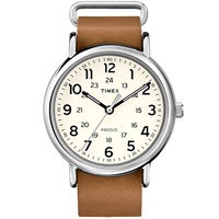 Timex Weekender 40 Slip Thru Watch Tan Leather