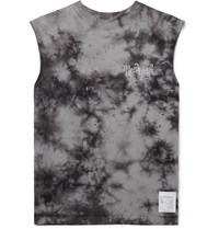 Satisfy Distressed Printed Tie Dyed Cotton Jersey Tank Top Black