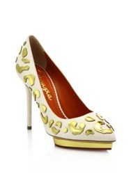 Charlotte Olympia Debbie Linen And Metallic Leather Platform Pumps White Gold