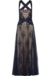 Mikael Aghal Lace Paneled Tulle Gown Blue