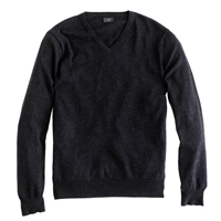 J.Crew Tall Cotton Cashmere V Neck Sweater Hthr Charcoal
