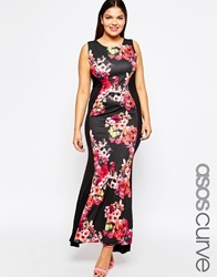 Club L Plus Size Illusion Maxi Dress With Tropical Floral Print Insert Blackfloral