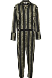 Topshop Unique Duvall Striped Satin Jumpsuit Army Green