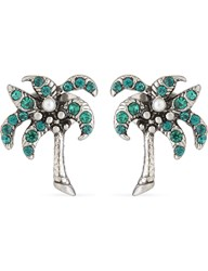 Marc Jacobs Palm Tree Stud Earrings Antique Silver