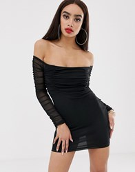 Prettylittlething Bardot Bodycon Dress With Ruched Mesh In Black