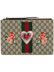Gucci Embroidered Gg Supreme Clutch Bag Nude Neutrals