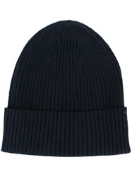 Closed Ribbed Beanie Blue