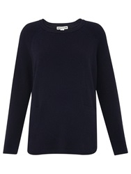 Whistles Cashmere Ribbed Boxy Jumper Navy