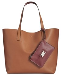 Styleandco. Style Co. Clean Cut Reversible Tote With Wristlet Only At Macy's Brown Maroon
