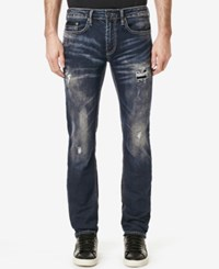 Buffalo David Bitton Men's Evan X Slim Fit Destroyed Jeans Sanded And Painted