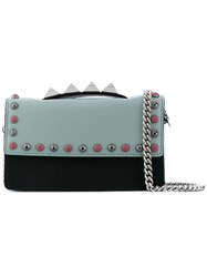 Salar Studded Chain Clutch Women Leather Acrylic One Size Black