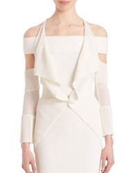 Roland Mouret Brewer Cold Shoulder Cardigan White