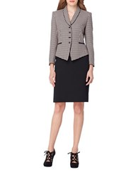 Tahari By Arthur S. Levine Houndstooth Jacket And Skirt Suit Pink Black