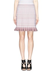 Azzedine Alaia 'Frou Frou' Dot Stripe Jacquard Knit Skirt Multi Colour