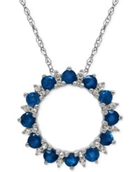 Macy's Sapphire 1 1 5 Ct. T.W. And White Topaz 1 10 Ct. T.W. Pendant Necklace In Sterling Silver