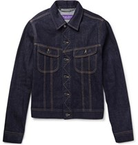 Ralph Lauren Purple Label Trucker Slim Fit Selvedge Stretch Denim Jacket Blue