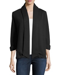 Theory Ashby Open Front Cotton Cardigan Black