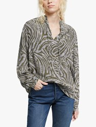 And Or Mara Animal Print Blouse Khaki