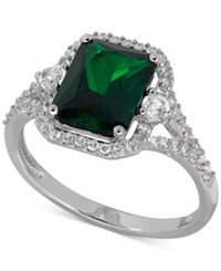 Macy's Lab Created Emerald 2 1 10 Ct. T.W. And White Sapphire 3 8 Ct. T.W. Ring In Sterling Silver