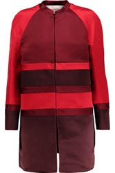 Valentino Paneled Silk Satin Jacket Red
