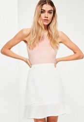 Missguided White Frill Hem Airtex Mesh Mini Skirt