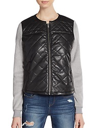 Candc California Quilted Faux Leather Vest Black