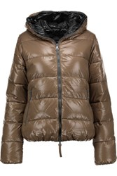 Duvetica Thia Quilted Shell Down Hooded Coat Bronze