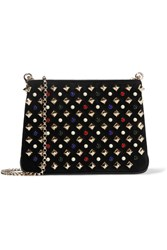 Christian Louboutin Triloubi Small Embellished Suede And Leather Shoulder Bag Black