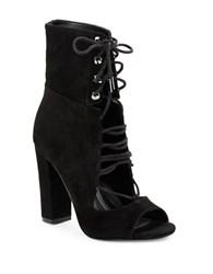 Kendall Kylie Ella Lace Up Booties Black