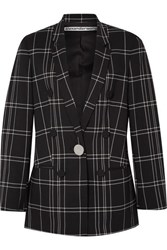 Alexander Wang Leather Trimmed Checked Woven Blazer Black