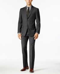 Tommy Hilfiger Men's Slim Fit Charcoal Windowpane Stretch Performance Suit