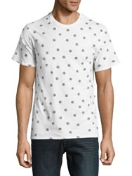 Black Brown Short Sleeve Printed Cotton Tee Bright White