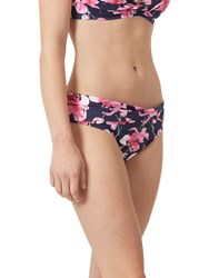 Joules Belle Orchid Print Twist Bikini Bottoms French Navy