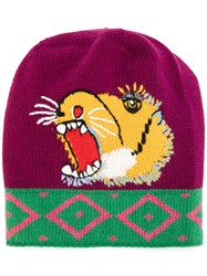 Gucci Roaring Tiger Beanie Men Wool M Pink Purple