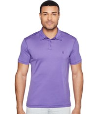 John Varvatos Matte Sheen Soft Collar Peace Polo With Peace Sign Chest Embroidery K1381t1b Purple Men's Clothing