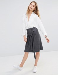 House Of Sunny Skirt With Tie Front Co Ord Grey