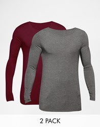 Asos Extreme Muscle Long Sleeve T Shirt With Boat Neck 2 Pack In Red And Gray Save 19 Redcharcoal