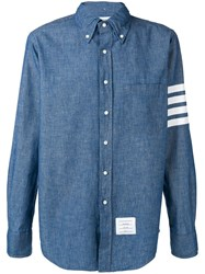 Thom Browne 4 Bar Straight Fit Chambray Shirt Blue