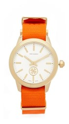 Tory Burch The Collins Grosgrain Watch Orange Grove Ivory Gold