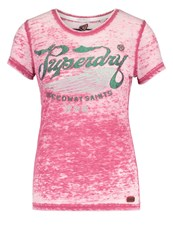 Superdry Speed Saints Print Tshirt Rich Berry Pink