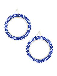 Saks Fifth Avenue Beaded Hoop Earrings 2 Lapis Gold