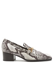 Stella Mccartney Python Effect Faux Leather Block Heel Loafers White Black